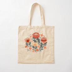 Protea Chintz - Mustard Cotton Tote Bag