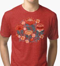 Protea Chintz - Mustard Tri-blend T-Shirt