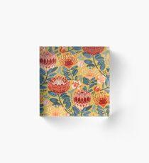 Protea Chintz - Mustard Acrylic Block