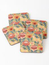 Protea Chintz - Mustard Coasters