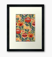 Protea Chintz - Mustard Framed Print