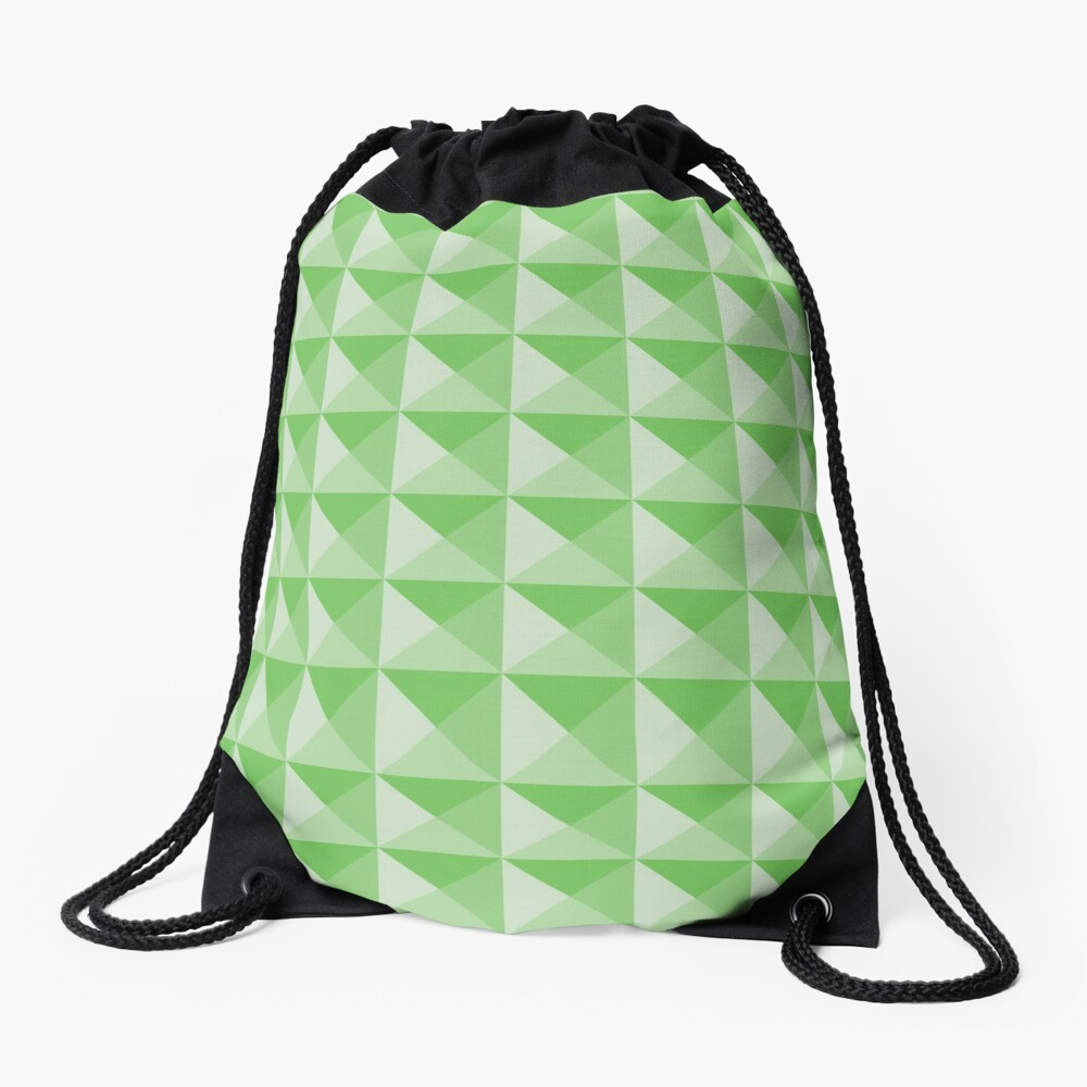 Geometric Pattern: Pyramid: Green Light Drawstring Bag