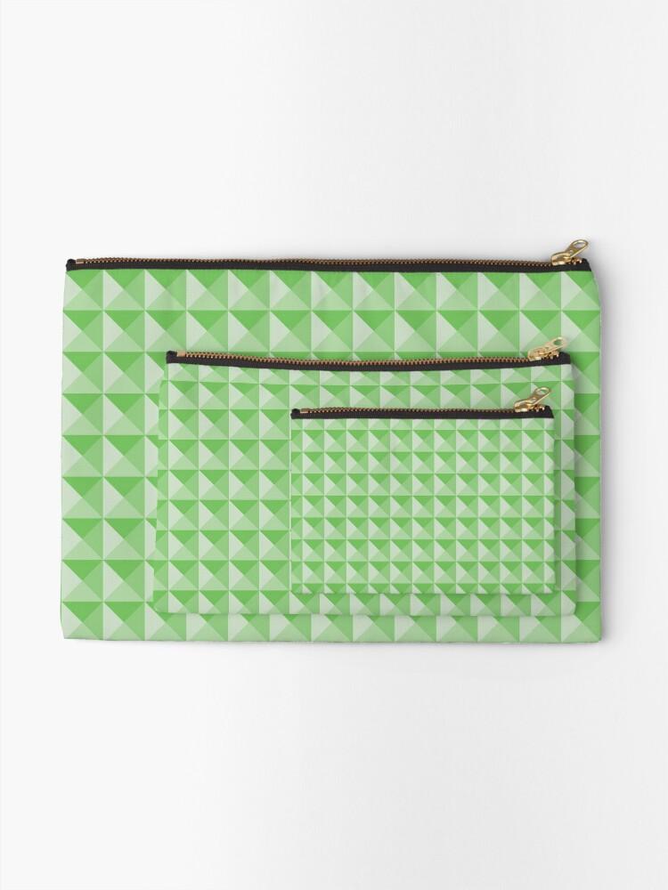 Alternate view of Geometric Pattern: Pyramid: Green Light Zipper Pouch