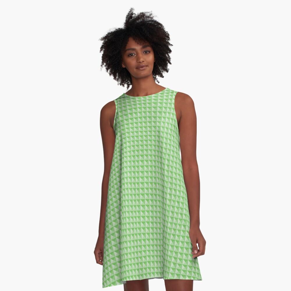 Geometric Pattern: Pyramid: Green Light A-Line Dress