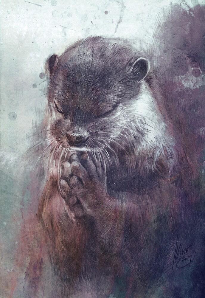 Meditierender Otter (farbig) von Daniela  Illing