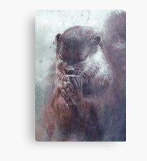 Meditierender Otter (farbig) Metallbild