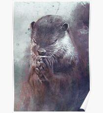 Meditierender Otter (farbig) Poster