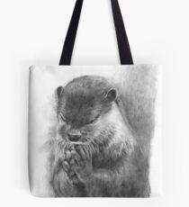 Meditierender Otter (schwarz-weiß) Tote Bag
