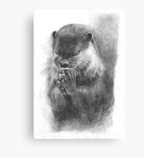 Meditierender Otter (schwarz-weiß) Leinwanddruck