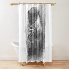 Meditierender Otter (schwarz-weiß) Duschvorhang