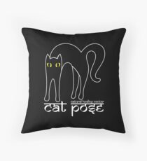 Cat Pose 1 - Cat Yoga (white text) Throw Pillow