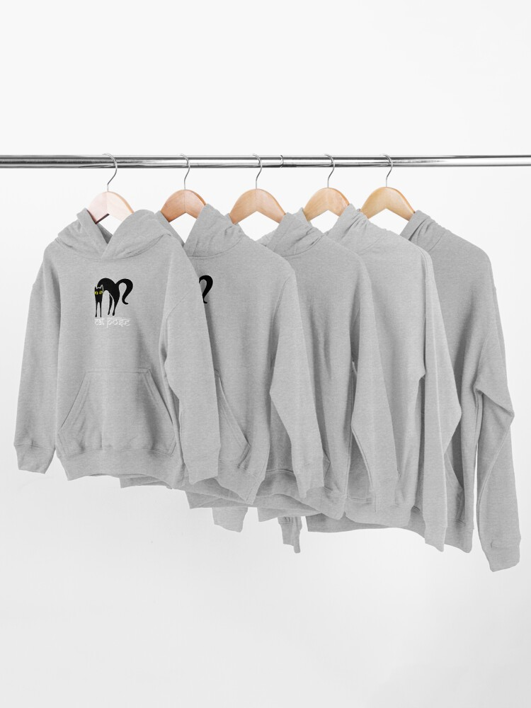 Alternate view of Cat Pose 1 - Cat Yoga (white text) Kids Pullover Hoodie