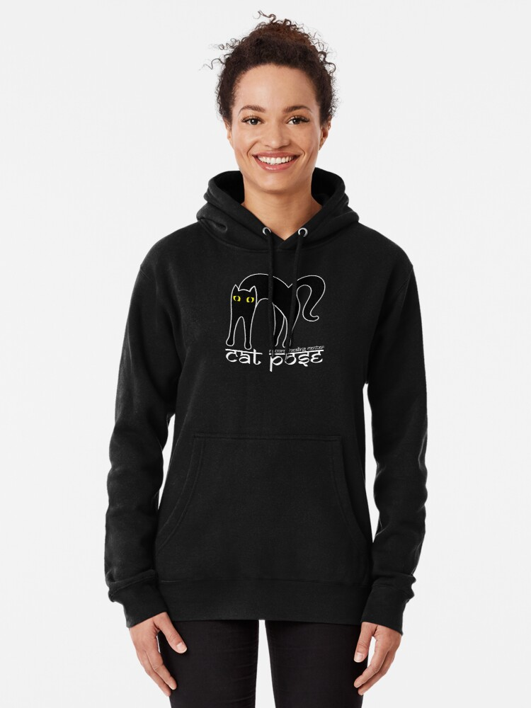 Alternate view of Cat Pose 1 - Cat Yoga (white text) Pullover Hoodie