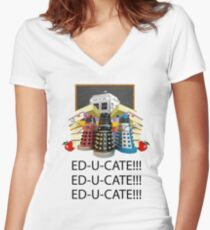 Educate not Exterminate  Women's Fitted V-Neck T-Shirt