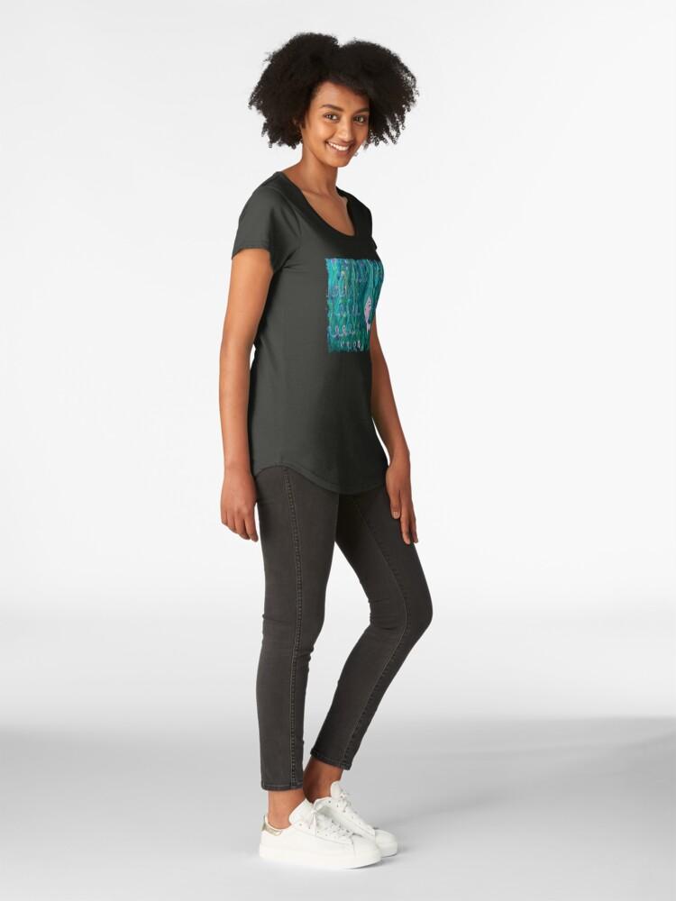 Alternate view of Shy Little Mermaid in the Seaweed Premium Scoop T-Shirt