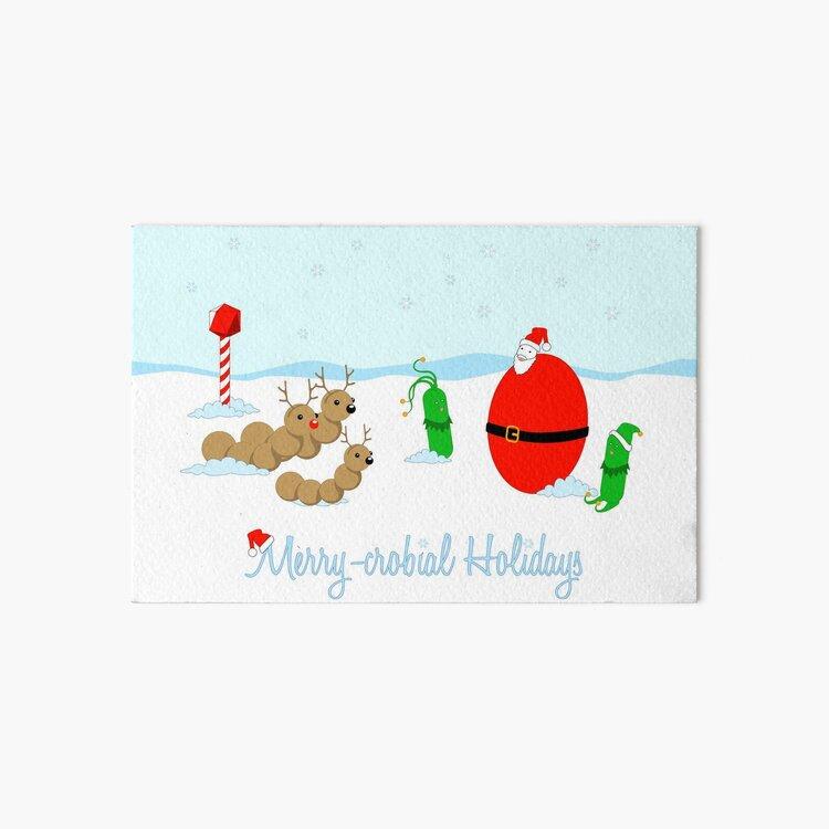 Merry-crobial Holiday Greetings Art Board Print