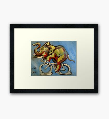 Elephas Maximus on a Bicycle Framed Print