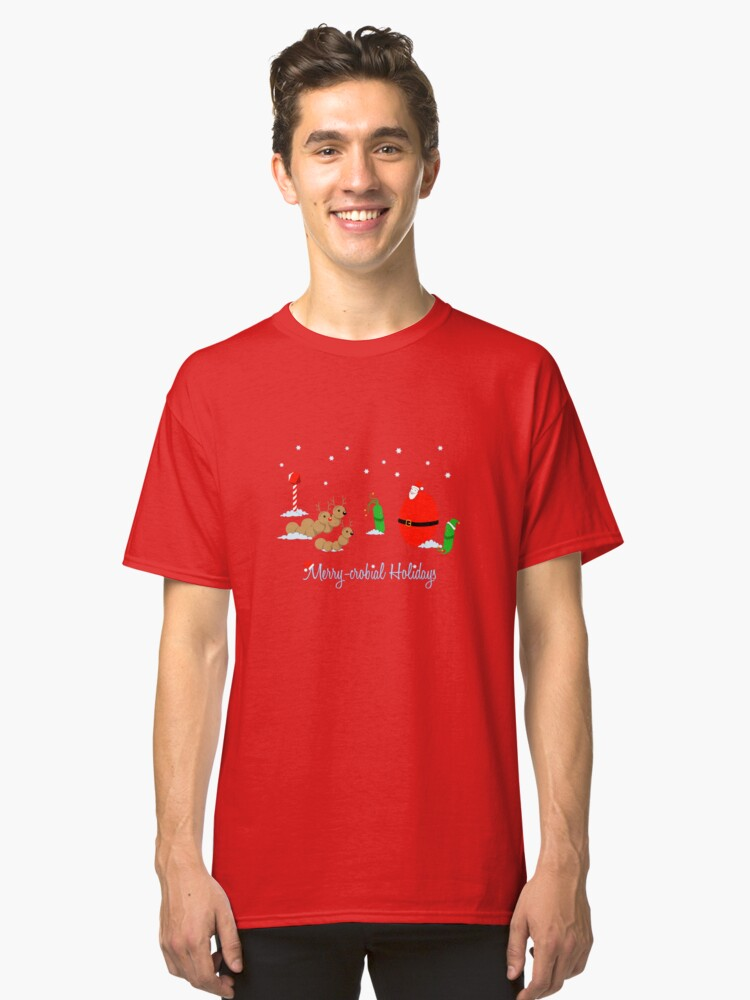 Alternate view of Merry-crobial Holiday Greetings Classic T-Shirt