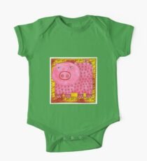 Patterned Pig One Piece - Short Sleeve