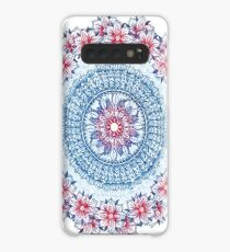 Red, Blue & White Floral Medallion Case/Skin for Samsung Galaxy