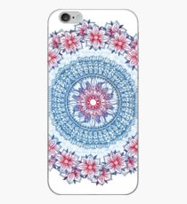 Red, Blue & White Floral Medallion iPhone Case