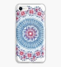 Red, Blue & White Floral Medallion iPhone Case/Skin
