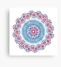 Red, Blue & White Floral Medallion Canvas Print