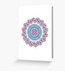 Red, Blue & White Floral Medallion Greeting Card