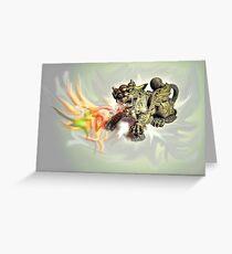 Brass Fire-Breathing Dragon #1 Greeting Card