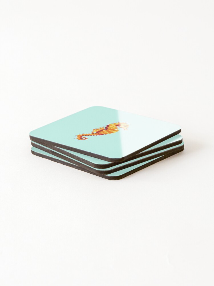 Alternate view of Seahorse Pixels Coasters (Set of 4)