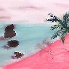 Palm Tree Series, 3 Rocks in Ocean,  watercolor by Anna  Lewis, blind artist