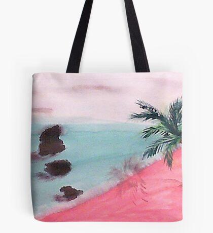 Palm Tree Series, 3 Rocks in Ocean,  watercolor Tote Bag