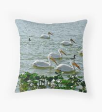 White Pelican Flotilla on Lake Morton Throw Pillow