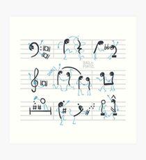 Notas musicales bailando salsa en un pentagrama Lámina artística