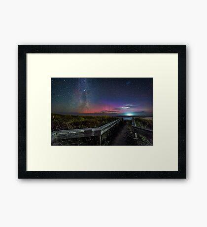 Pea Soup Aurora Panorama Framed Print