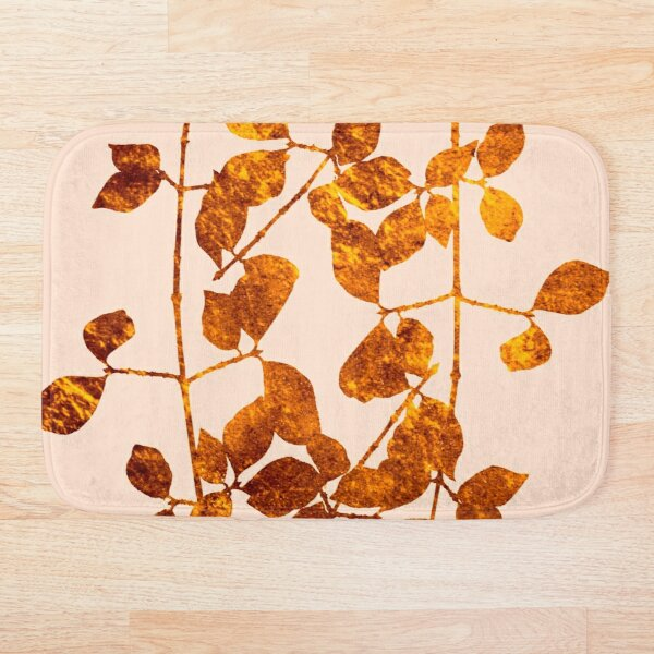 fall golden leaves Bath Mat