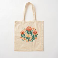 Protea Chintz - Teal & Orange  Cotton Tote Bag