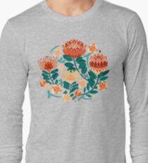 Protea Chintz - Teal & Orange  Long Sleeve T-Shirt