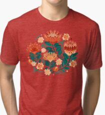 Protea Chintz - Teal & Orange  Tri-blend T-Shirt
