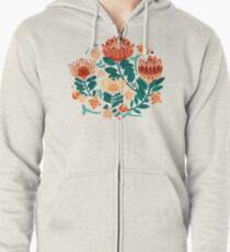 Protea Chintz - Teal & Orange  Zipped Hoodie