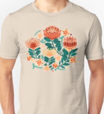 Protea Chintz - Teal & Orange  Slim Fit T-Shirt