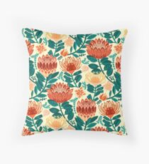Protea Chintz - Teal & Orange  Throw Pillow