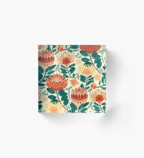Protea Chintz - Teal & Orange  Acrylic Block