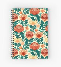 Protea Chintz - Teal & Orange  Spiral Notebook