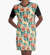 Protea Chintz - Teal & Orange  Graphic T-Shirt Dress