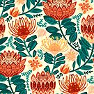 Protea Chintz - Teal & Orange  by TigaTiga