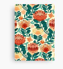 Protea Chintz - Teal & Orange  Canvas Print