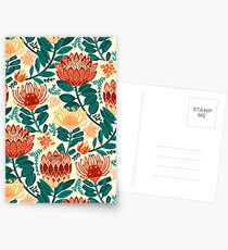 Protea Chintz - Teal & Orange  Postcards