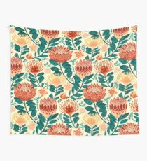 Protea Chintz - Teal & Orange  Wall Tapestry