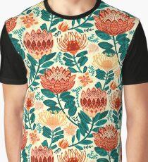 Protea Chintz - Teal & Orange  Graphic T-Shirt